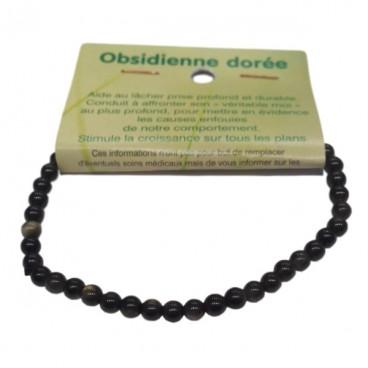obsidienne dorée bracelet très petites boules