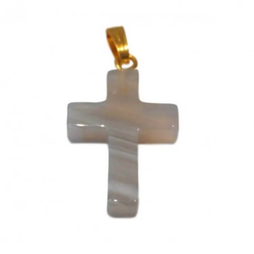 agate de botswana croix montée