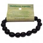obsidienne argentée bracelet grandes boules