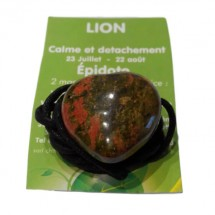 épidote (unakite) coeur percé (lion)