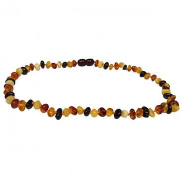 ambre collier bébé fantaisie galets multicolores
