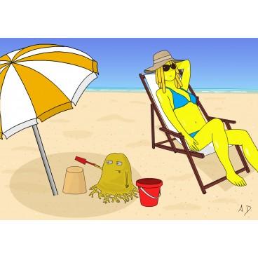 Carte postale - Bobby à la plage