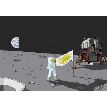 Carte postale - Bobby sur la lune